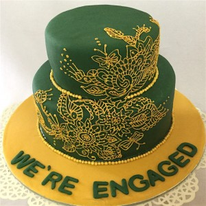 Ethnic Design green and gold Wedding Cake