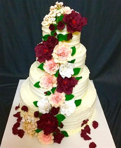 Floral Theme Wedding Cake
