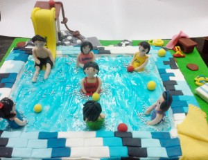 Kids in the Pool Birthday Cake