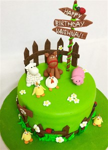 Vaishnavi's Farm Animals Birthday Cake