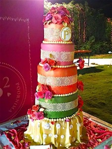 5 Tier Ethnic Dress Wedding Cake