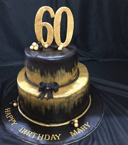 60th Birthday 2tier black & gold Cake