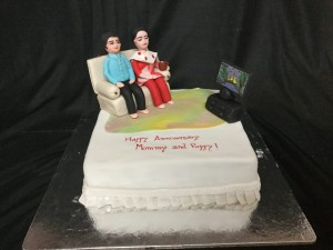 Anniversary Cake Mom and Dad with TV