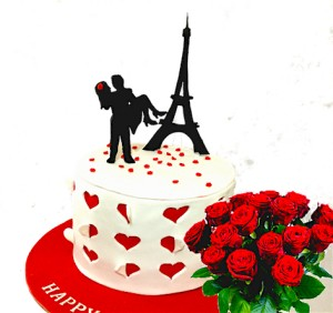 Valentine Eiffel Tower Cake Combo 1.5 kg
