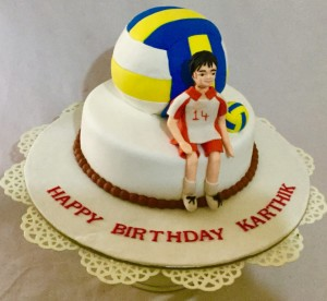 2 tier volley ball cake