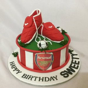 Designer Birthday Cake Arsenal Shoes theme