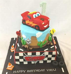 Viraj's  Customized Birthday Carz theme Cake
