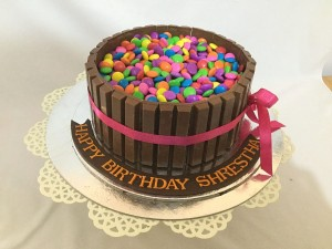 Happy Birthday Kitkat and Gems Cake