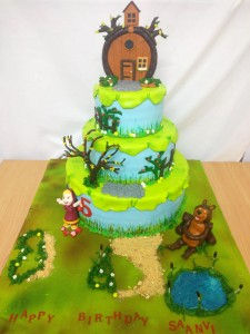 3 tier Masha and Bear Birthday Cake