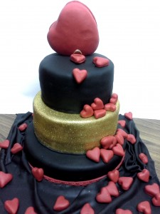 Red Hearts 3 Tier Engagement Cake