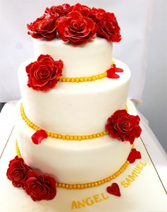 Red Rose Anniversary Cake