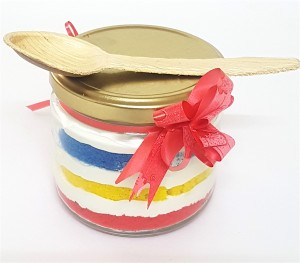 RainbowVanilla Cake in Jar- 2 jars