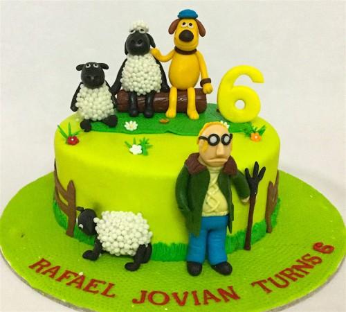 Pleasing Online Birthday Cakes Order Shawn The Sheep Theme Birthday Cake Personalised Birthday Cards Veneteletsinfo