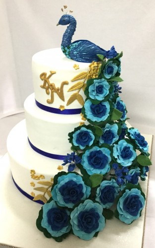 Designer Wedding Cake- Floral Peacock.jpg