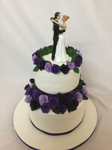 Purple Flowers theme Wedding Cake.jpg