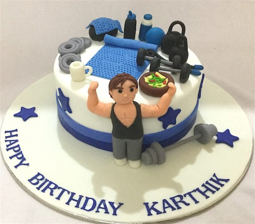 Karthik Gym theme Birthday Cake.JPG